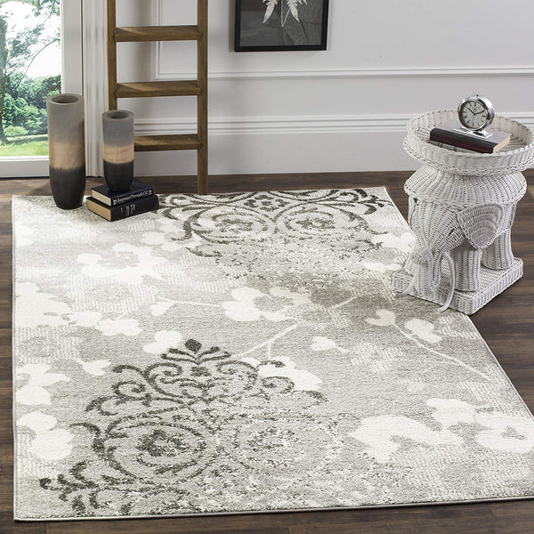 0103 Silver Damask Design Contemporary Area Rugs