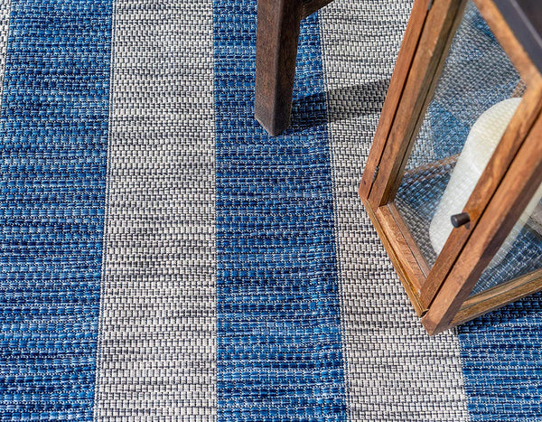 7193 Blue Striped Design Indoor-Outdoor Contemporary Area Rugs
