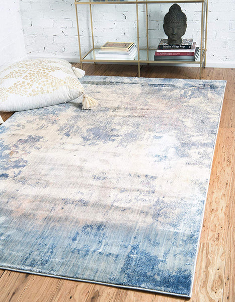 0154 Blue Modern Over-Dyed Contemporary Area Rugs