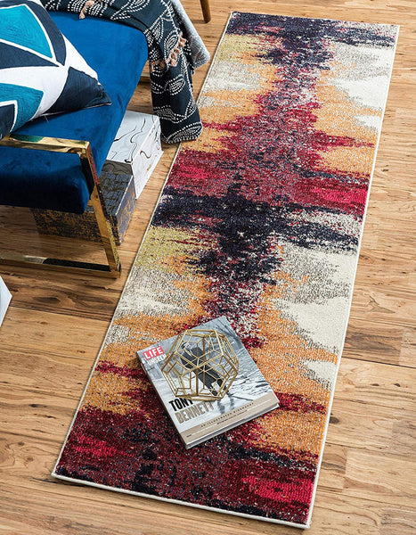 9993 Red Abstract Contemporary Area Rugs