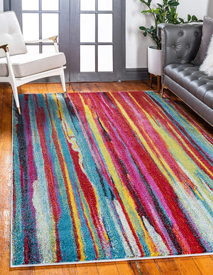 9912 Multi-Color Abstract Contemporary Area Rugs