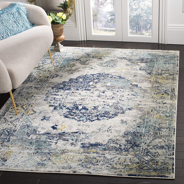 0133 Silver Blue Medallion Distressed Oriental Area Rugs