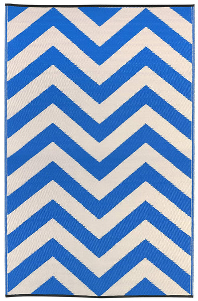 7109 Blue Chevron 100% Recycled Outdoor Area Rugs