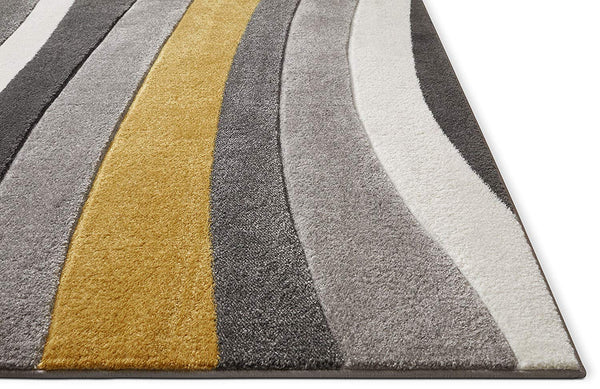 6095 Gold Carved Contemporary Area Rugs