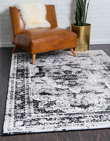 5102 Black Distressed Vintage Oriental Area Rugs