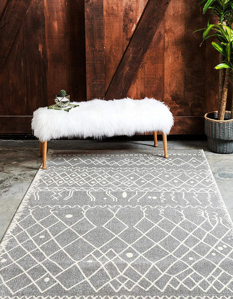0138 Gray Moroccan Tribal Contemporary Area Rugs