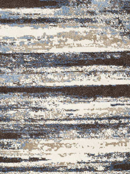 0126 Blue Ivory Abstract Contemporary Area Rugs