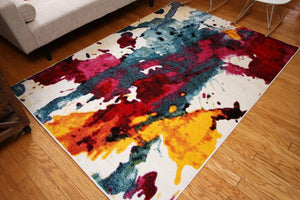 Radiance Red Modern Colorful Contemporary Area Rugs