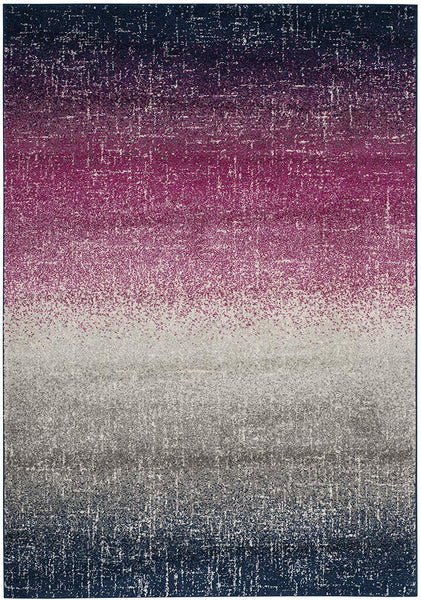 0124 Fuchsia Navy Blue Distressed Contemporary Area Rugs