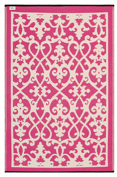 7108 Pink Transitional 100% Recycled Outdoor Area Rugs
