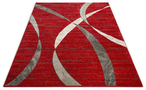 2965 Red Gray Modern Abstract Contemporary Area Rugs