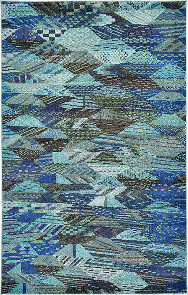 0170 Blue Southwestern Contemporary Area Rugs