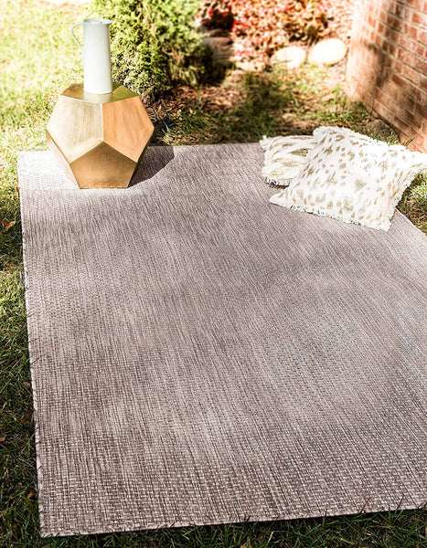 7192 Beige Solid Color Indoor-Outdoor Area Rugs
