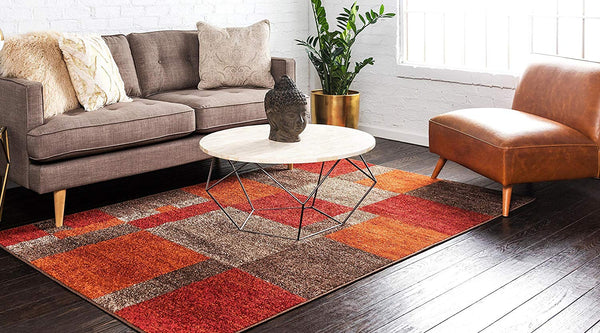 0148 Multi Color Checkered Design Contemporary Area Rugs