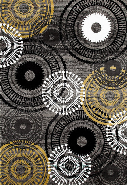 3807 Yellow Gray Medallion Contemporary Area Rugs