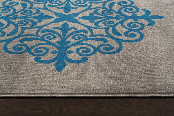 9601 Gray Medallion Contemporary Area Rugs