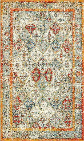 0210 Orange Distressed Oriental Area Rugs