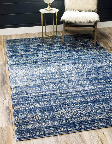 0152 Navy Blue Moroccan Tribal Design Distressed Contemporary Area Rugs