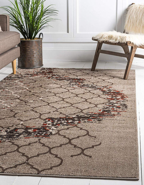 9715 Beige Moroccan Trellis Contemporary Area Rugs