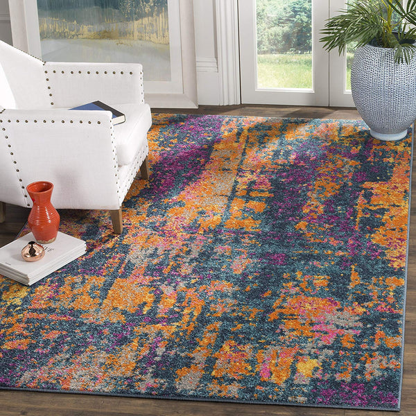 0101 Blue Orange Bohemian Contemporary Area Rugs