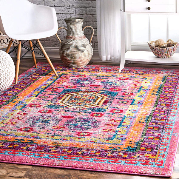 9353 Pink Colorful Distressed Oriental Area Rugs