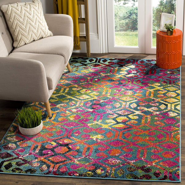 0109 Multi Color Colorful Abstract Contemporary Area Rugs