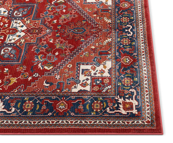 2937 Crimson Red Blue Persian Medallion Area Rugs