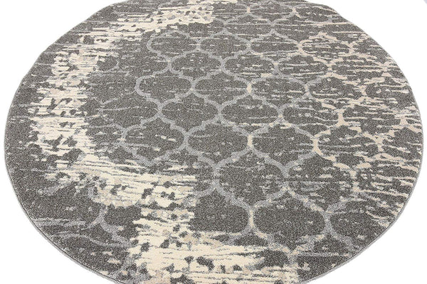 9715 Gray Moroccan Trellis Round Area Rugs