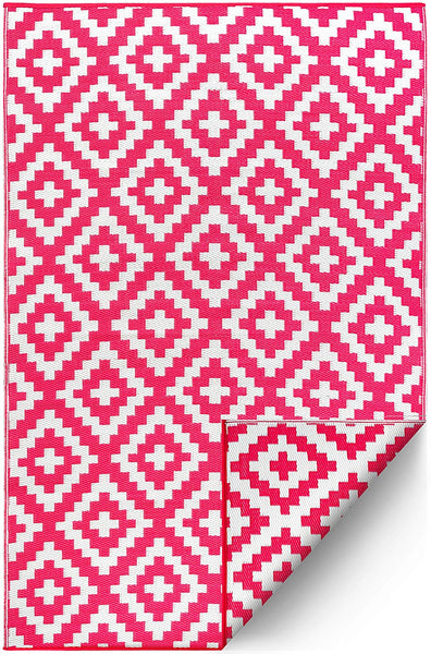 7101 Pink 100% Recycled Outdoor Area Rugs