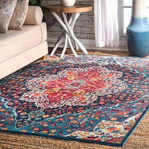 9351 Blue Colorful Medallion Oriental Area Rugs