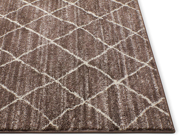 6119 Brown Moroccan Lattice Vintage Area Rugs