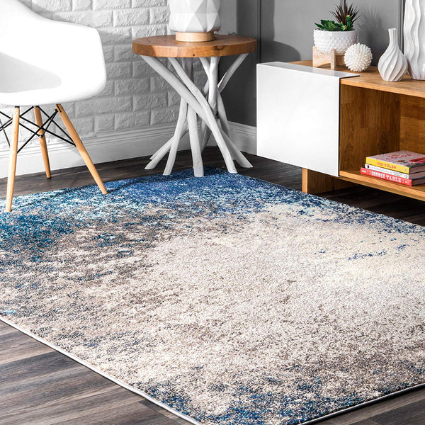 9943 Blue Abstract Contemporary Area Rugs