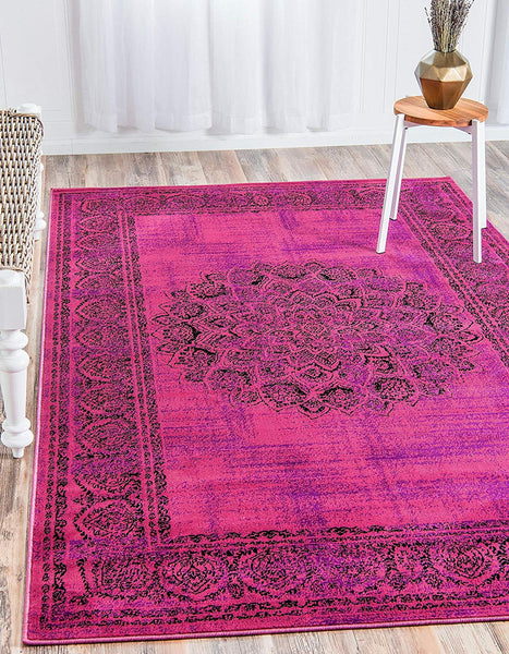 5132 Fuchsia Medallion Distressed Oriental Area Rugs