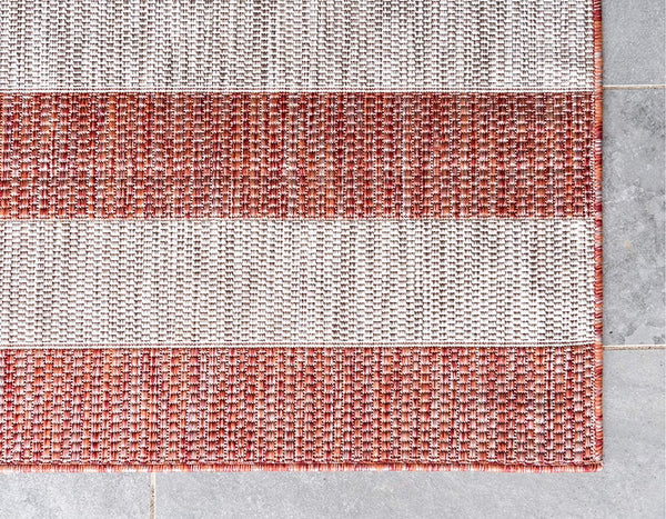7193 Rust Red Striped Design Indoor-Outdoor Contemporary Area Rugs