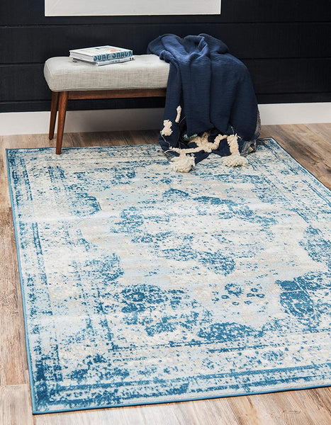5102 Blue Distressed Vintage Oriental Area Rugs