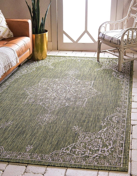 7130 Green Outdoor Distressed Vintage Oriental Area Rugs
