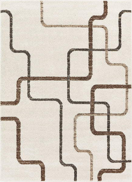 2962 Ivory Geometric Abstract Contemporary Area Rugs