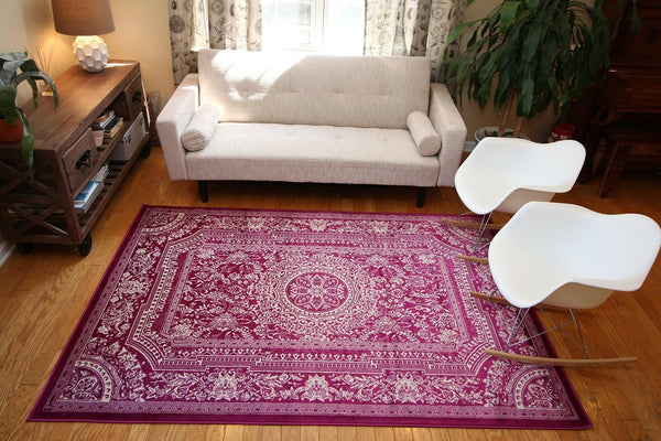 Purple European French Medallion Traditional Area Rugs | Bargain Area Rugs