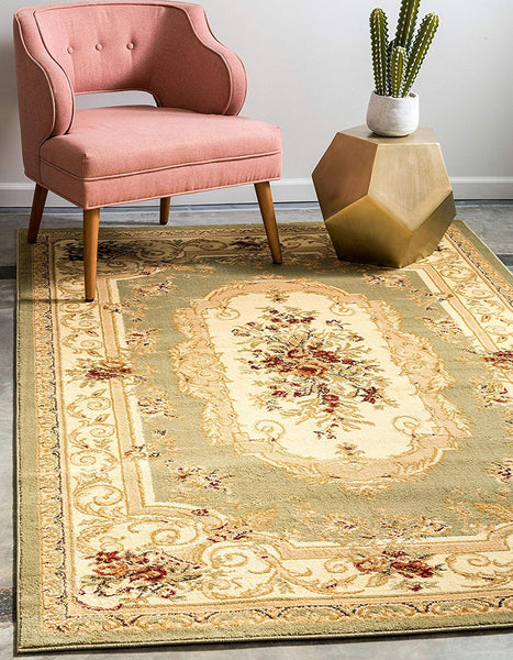 5106 Green Floral Traditional Area Rugs