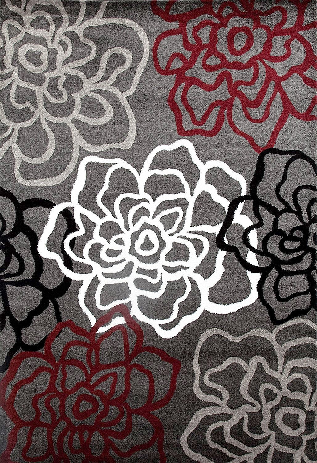 Gray red floral rug flower contemporary carpet for Red floral area rug
