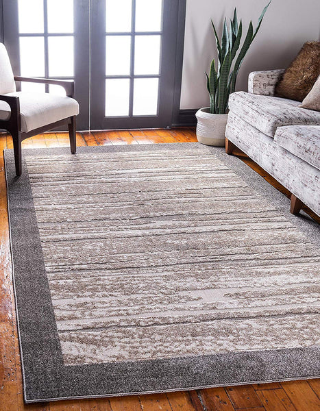 7145 Brown Outdoor-Indoor Carved Contemporary Area Rugs