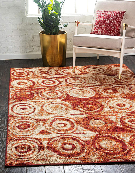 9929 Terracotta Abstract Modern Contemporary Area Rugs
