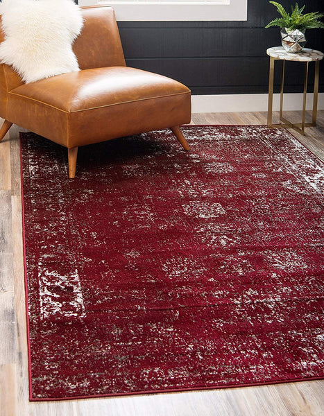 5101 Burgundy Distressed Vintage Oriental Area Rugs