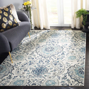 9363 Ivory Light Gray Damask Area Rugs