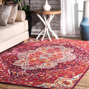 9351 Pink Colorful Medallion Oriental Area Rugs