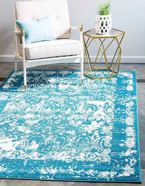 9321 Blue Distressed Oriental Area Rugs