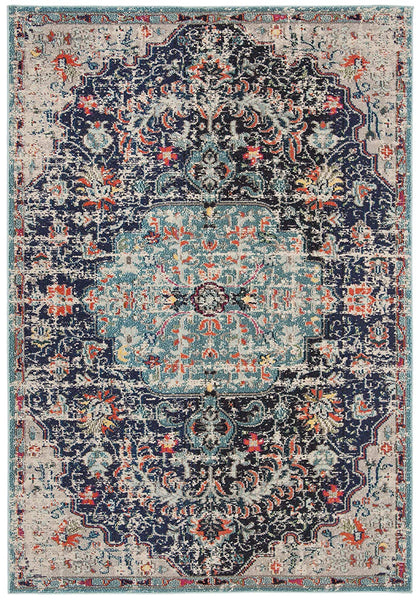 0123 Navy Blue Medallion Vintage Oriental Area Rugs