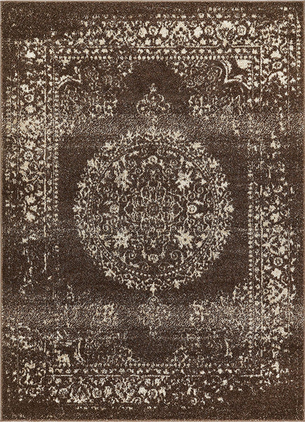 2932 Brown Medallion Distressed Traditional Area Rugs