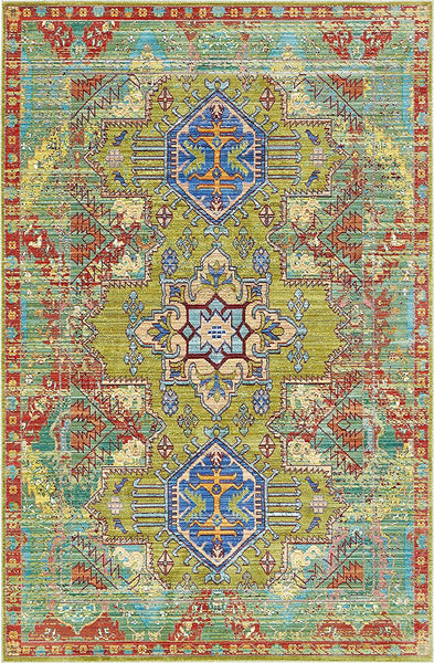 5153 Green Abstract Distressed Oriental Area Rugs