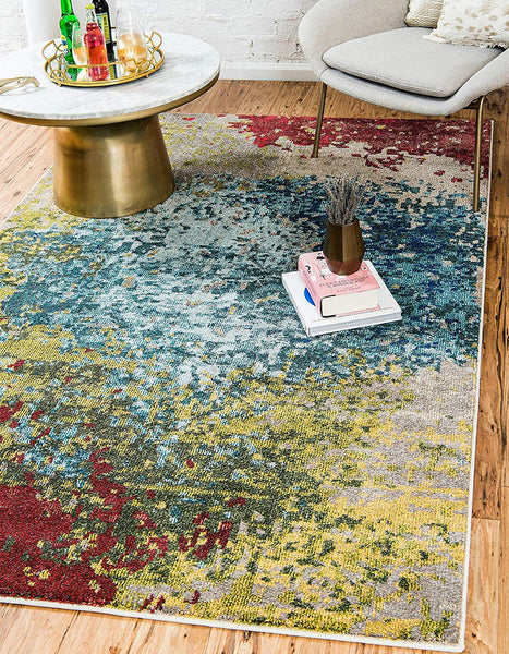 9985 Blue Multi-Color Abstract Contemporary Area Rugs